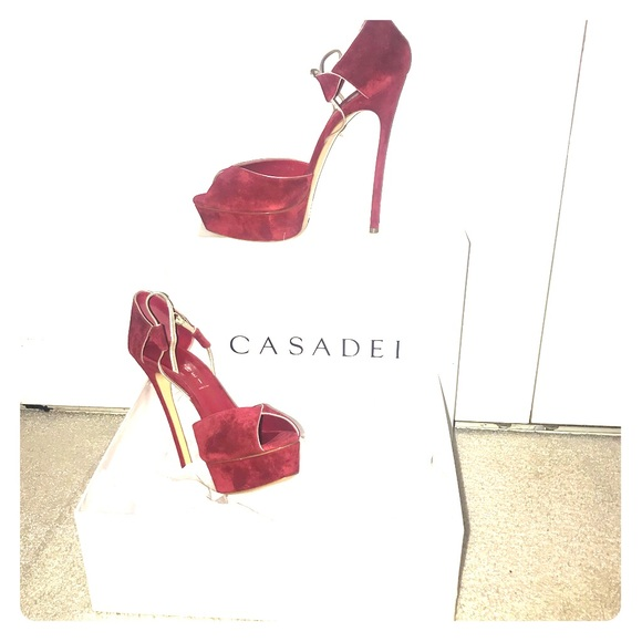 03018fbeead Casadei Shoes | Red Suede Peep Toe Platform Sandals | Poshmark